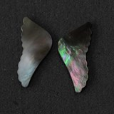 1pc Black MOP cabochon wing 17.11 x 35 x 2.5mm polished both sides