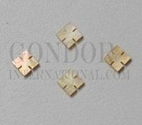1pc Gold MOP notched squares 5.5 x 1.5mm