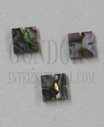1pc Green abalone notched squares 4x1.5mm