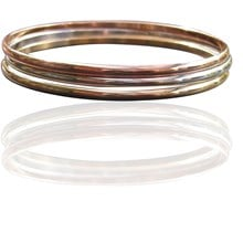 Three tone bangles gold filled