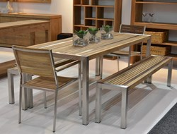 Teak Stripe Dining Table 240x90