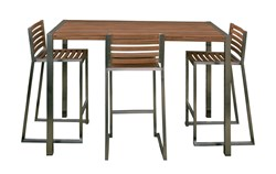 Teak Stripe Bar Table