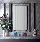 Bisque Decorative Panel DVL80-28 Vertical Radiator with Aluminium Finish