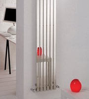 MHS Arturo Polished Stainless Steel Vertical Single Designer Radiator By MHS Radiators