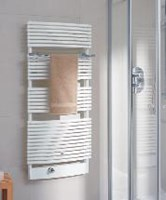 The Credo-Swing gently curved ladder style towel radiator by Kermi.