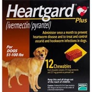 Heartgard Chewables Plus Brown Dogs 51-100 lbs (23-45kg) - 12 Chewables