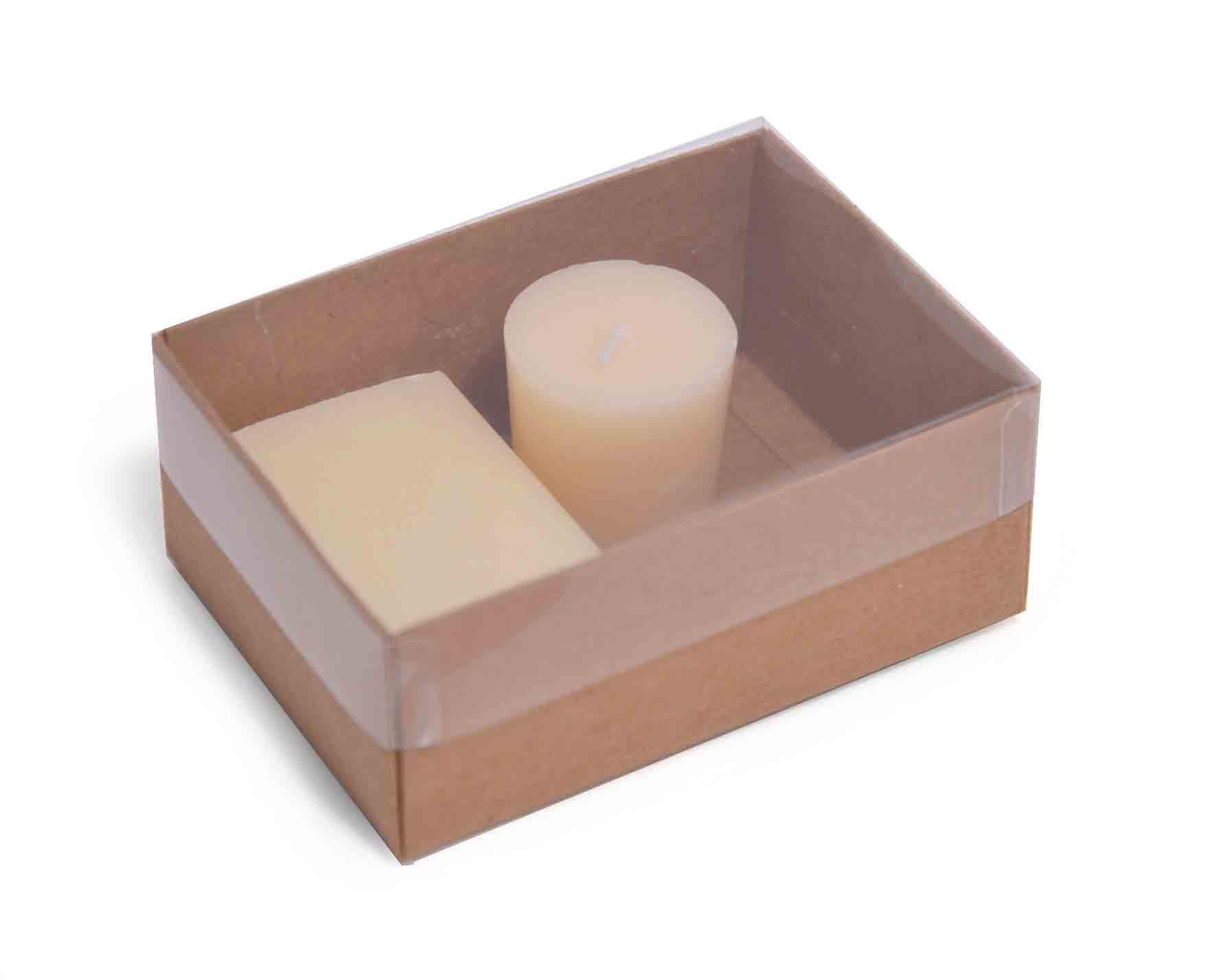 Favor Boxes And Containers : Small kraft flat packed recycled gift box with clear lid