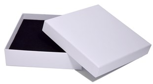 Luxury White Laminated Choker Necklace Box 160 x 160 x 40mm (MMSQWH16)