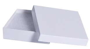 White Gloss Square recycled jewellery box 89 x 89 x 23mm (GLW60/18)