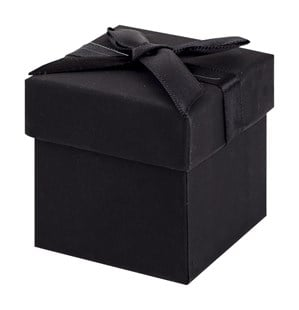 Black Earring Cube Gift Box with Black Ribbon Bow