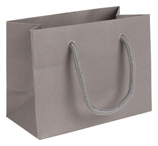 Small Landscape Grey Paper Gift Bag With Rope Handles 120 x 160 x 80mm (LBGRSM)