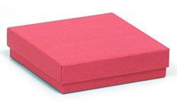 Square kraft red recycled jewellery box / red recycled gift box 89 x 89 x 25mm (KCRED18)