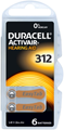 Duracell Activair Mercury Free Hearing Aid Batteries Size 312 (Brown Tab) - Various Pack Size