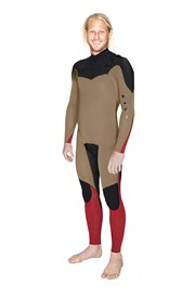 ZION WETSUITS Wesley 3/2mm Chest Zip Steamer - Caramel/ Black/ Red - Winter 2014 Range