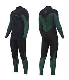 ZION WETSUITS Vault 3/2mm Liquid S-Sealed Chest Zip Steamer - Black/ Forest Green - 2015 Winter