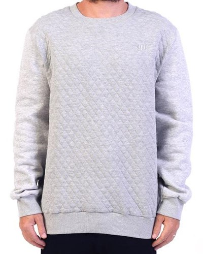 GRAND FLAVOUR Quilted Crew Neck - Grey
