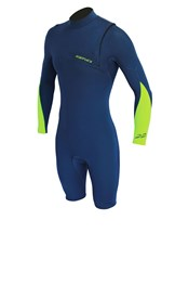 REEFLEX WETSUITS Gen X Zipperless 2/2mm Long Sleeve Springsuit - Cascade Blue / Fluro Green