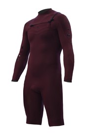 ZION WETSUITS Wesley 2/2mm Chest Zip L/S Springsuit - Burgundy - Summer 2015/16 Range