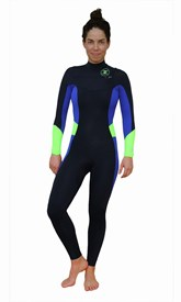 REEFLEX WETSUITS Lilly Retro Ladies 3/2mm Chest Zip Steamer - Black/Purple/Fluro Green