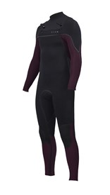 ZION WETSUITS Vault 3/2mm Liquid S-Sealed Chest Zip Steamer - Black / Plum - Winter 2017 Range