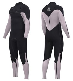 ZION WETSUITS Vault 4/3mm Liquid S-Sealed Chest Zip Steamer - Black/ White - 2nd Winter 2017 Range