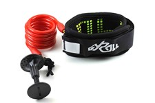 GYROLL Variable Leash Black Cuff - Red Coil