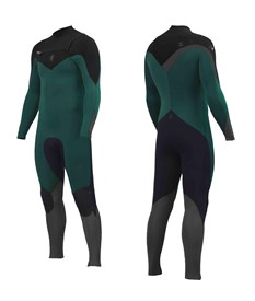 ZION WETSUITS Wesley 3/2mm GBS Chest Zip Steamer - Forest/ Black/ Grey - 2015 Winter