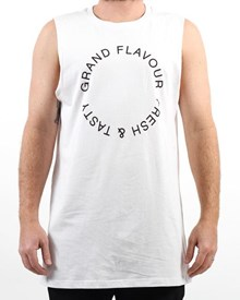GRAND FLAVOUR Fresh & Tasty Muscle T Shirt - White
