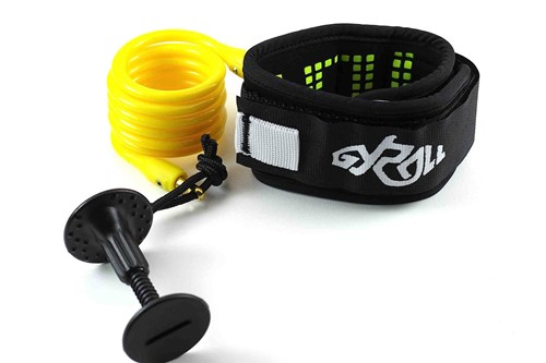 GYROLL Variable Leash Black Cuff - Yellow Coil