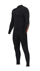 ZION WETSUITS Wesley 4/3mm GBS Chest Zip Steamer - Black/ Sunkist - Winter 2016 Range