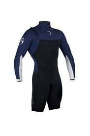 Dunes DS1 Chest Zip 2/2mm Long Sleeve Springsuit - Black/ Navy Blue/ White
