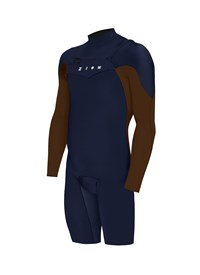 ZION WETSUITS Wesley 2/2mm Chest Zip L/S Springsuit - Navy/ Burgundy - Summer 2015/16 Range