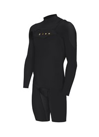 ZION WETSUITS Wesley 2/2mm Chest Zip L/S Springsuit - Black - Summer 2015/16 Range