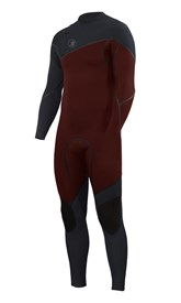 ZION WETSUITS Cortez 3/2mm Liquid S-Sealed Zipperless Steamer - Burgundy / Graphite - Winter 2017 Range