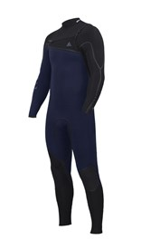 ZION WETSUITS Yeti 4/3mm Liquid S-Sealed Chest Zip Steamer - Navy / Black - Winter 2017 Range