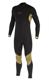 REEFLEX WETSUITS Hardy X2 3/2mm GBS Zipperless Sealed Steamer - Black/Gold - 2017 Winter Range