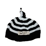 Bamboo hand knitted baby night cap - Black