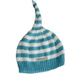 Bamboo hand knitted baby night cap - Blue