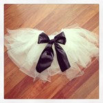 Tutu - White with Black Bow and built in bamboo pants