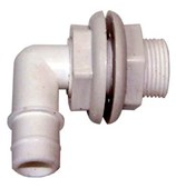 Elbow Thru-Tank Fitting 19 mm PVC