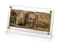 24 Carat Gold Australian $100 note in Acrylic Display