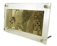 24 Carat Gold Australian $50 note in Metal Leg Acrylic Display