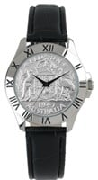 Australian Collection Silver Case with Florin and black leather band