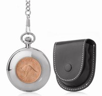 Coinwatch Pocket Collection Mens Silver Australian Kangaroo Penny with Raw 30cm chain