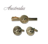 Australian Collection Kangaroo Cuff links & tie clip