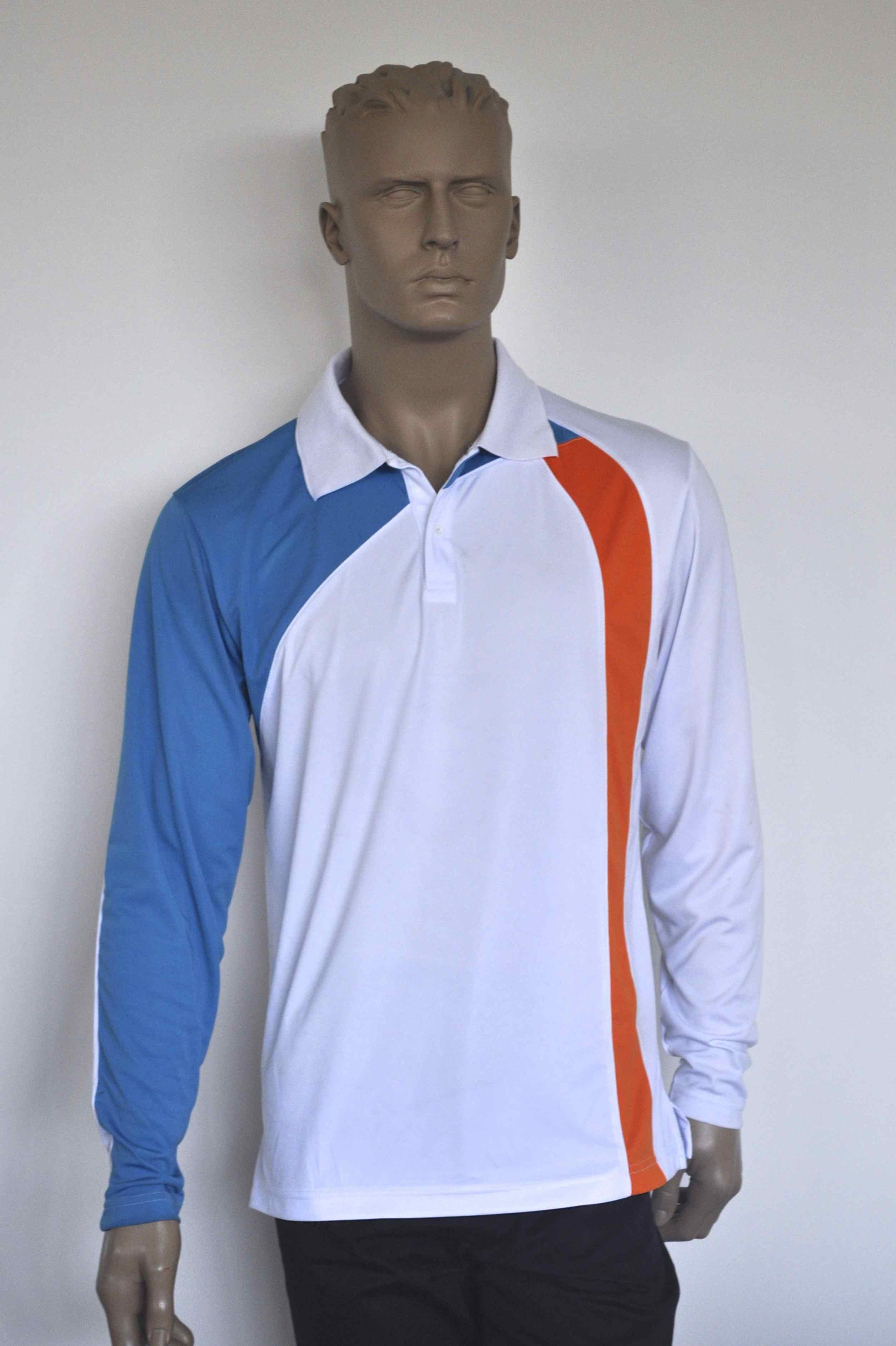 Sun protection mens white with orange and blue golf shirt for Sun protection golf shirts