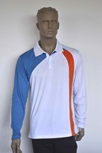 Sun Protection Mens  White with Orange and Blue Golf Shirt