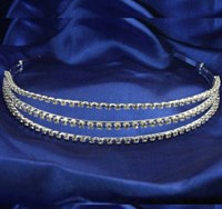 3 Row Diamonte Silver Hair Band, 4132