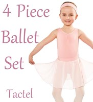 Studio 7, Girls 4 Piece Ballet Set, includes a Full Circle Skirt, (5 Colours) TACTEL
