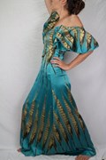 Dress - Butterfly-Sleeved - Stretch Silk - Turquoise